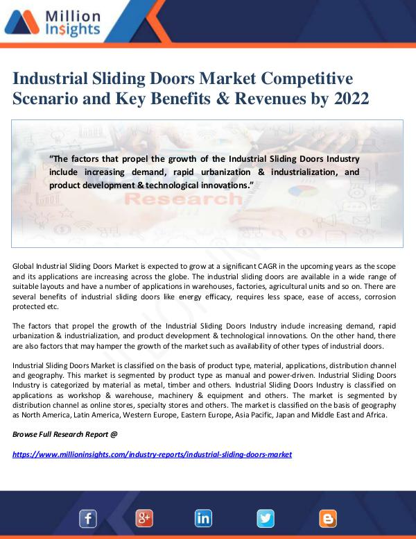 Manufacturing and Construction Reports by Million Insights Industrial Sliding Doors Market Competitive Scenar