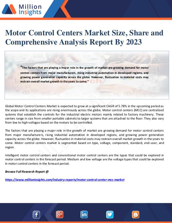 Manufacturing and Construction Reports by Million Insights Motor Control Centers Market Size, Share and Compr