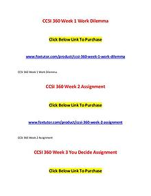 CCSI 360 All Assignments