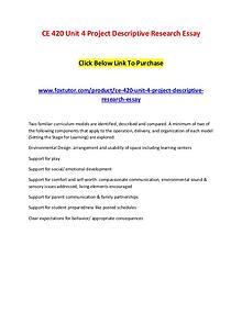 CE 420 Unit 4 Project Descriptive Research Essay