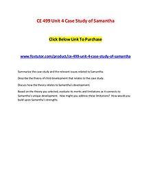 CE 499 Unit 4 Case Study of Samantha