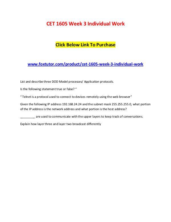 CET 1605 Week 3 Individual Work CET 1605 Week 3 Individual Work