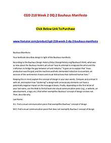 CGD 218 Week 2 DQ 2 Bauhaus Manifesto