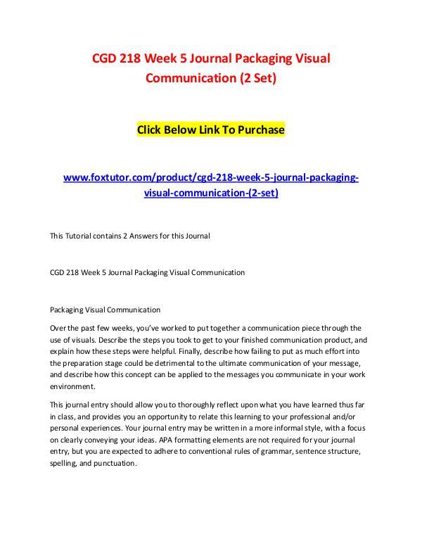 CGD 218 Week 5 Journal Packaging Visual Communication (2 Set) CGD 218 Week 5 Journal Packaging Visual Communicat