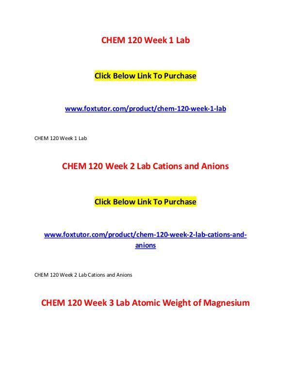 CHEM 120 All Assignments CHEM 120 All Assignments