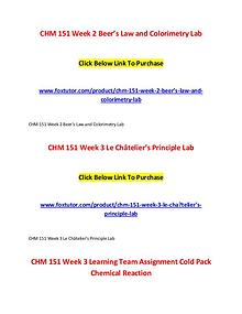 CHM 151 All Assignments