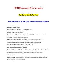 CIS 105 Assignment Security Systems