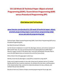CIS 110 Week 10 Technical Paper Object-oriented Programming (OOP)  Ev