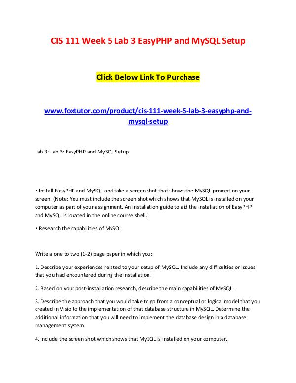 CIS 111 Week 5 Lab 3 EasyPHP and MySQL Setup CIS 111 Week 5 Lab 3 EasyPHP and MySQL Setup
