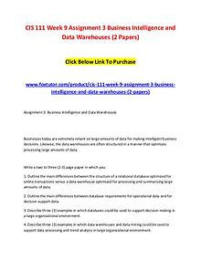 CIS 111 Week 9 Assignment 3 Business Intelligence and Data Warehouses