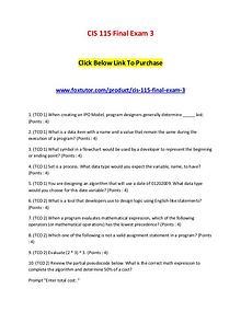 CIS 115 Final Exam 3 Sets of Answers