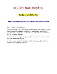 CIS 115 Week 3 Lab Decision Calendar