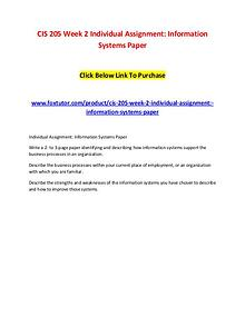 CIS 205 Week 2 Individual Assignment Information Systems Paper