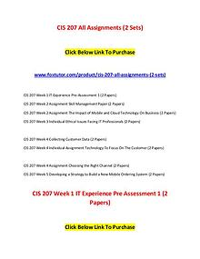 CIS 207 All Assignments