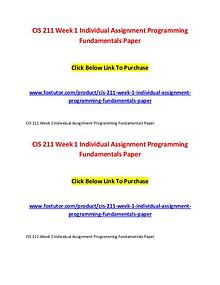 CIS 211 All Assignments