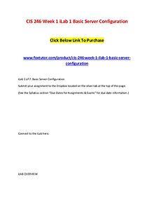 CIS 246 Week 1 iLab 1 Basic Server Configuration (2)