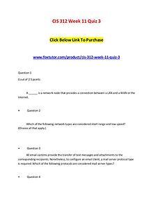 CIS 312 Week 11 Quiz 3