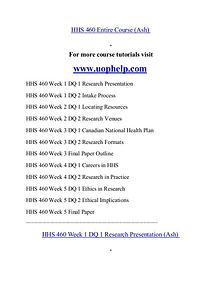 HHS 460 help Minds Online/uophelp.com