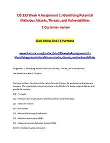 CIS 333 Week 4 Assignment 1 Identifying Potential Malicious Attacks,