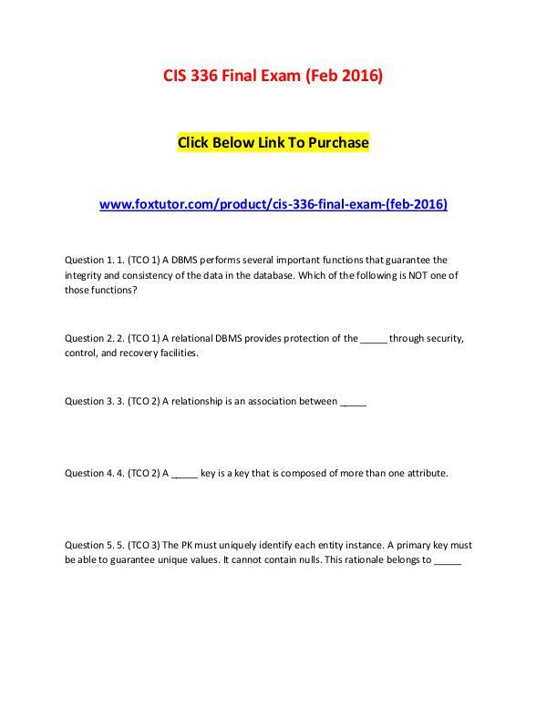 CIS 336 Final Exam (Feb 2016) CIS 336 Final Exam (Feb 2016)