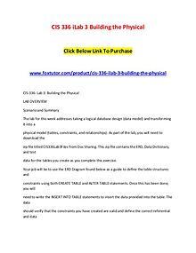 CIS 336 iLab 3 Building the Physical