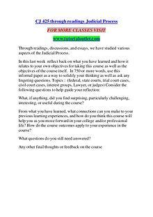 CJ 425 THROUGH READINGS JUDICIAL PROCESS / TUTORIALOUTLET DOT COM