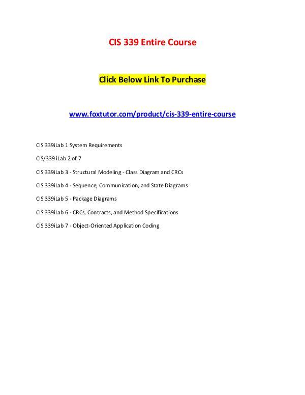 CIS 339 Entire Course CIS 339 Entire Course