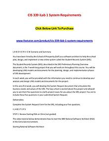 CIS 339 iLab 1 System Requirements