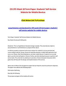 CIS 375 Week 10 Term Paper Students' Self-Service Website for Mobile