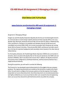 CIS 409 Week 10 Assignment 2 Managing a Merger
