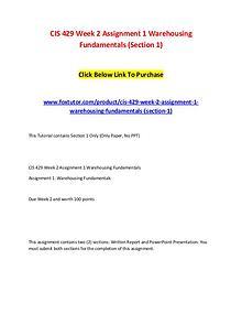 CIS 429 Week 2 Assignment 1 Warehousing Fundamentals (Section 1)