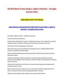 CIS 443 Week 4 Case Study 1 Agile in Practice – An Agile Success Stor