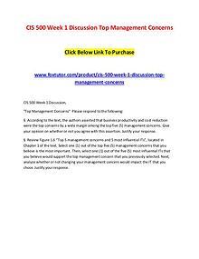 CIS 500 Week 1 Discussion Top Management Concerns