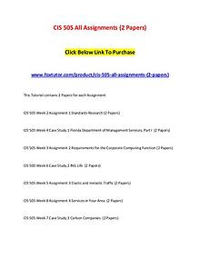 CIS 505 All Assignments (2 Papers)