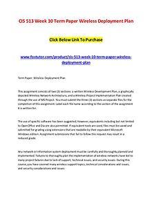 CIS 513 Week 10 Term Paper Wireless Deployment Plan