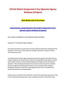 CIS 515 Week 6 Assignment 5 Tour Operator Agency Database (2 Papers)