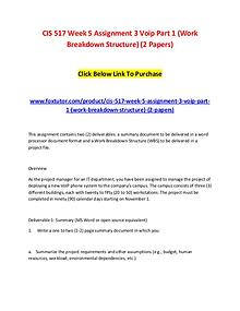 CIS 517 Week 5 Assignment 3 Voip Part 1 (Work Breakdown Structure) (2