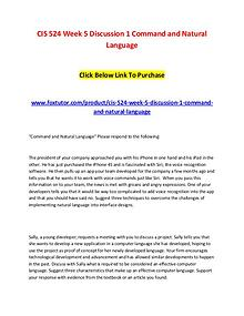 CIS 524 Week 5 Discussion 1 Command and Natural Language