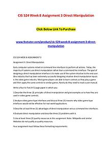 CIS 524 Week 8 Assignment 3 Direct Manipulation