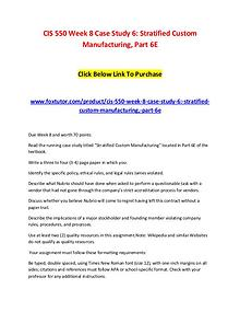 CIS 550 Week 8 Case Study 6 Stratified Custom Manufacturing, Part 6E