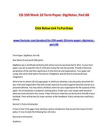 CIS 550 Week 10 Term Paper DigiNotar, Part 6B