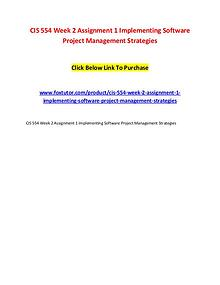CIS 554 Week 2 Assignment 1 Implementing Software Project Management