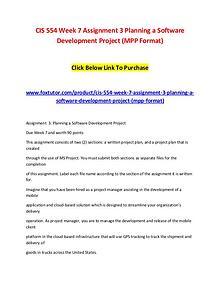 CIS 554 Week 7 Assignment 3 Planning a Software Development Project (