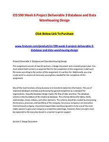CIS 590 Week 6 Project Deliverable 3 Database and Data Warehousing De