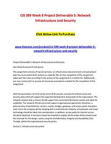 CIS 599 Week 8 Project Deliverable 5 Network Infrastructure and Secur