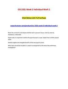 CIS 2321 Week 2 Individual Work 1