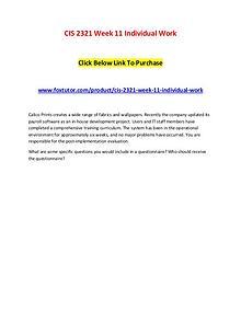 CIS 2321 Week 11 Individual Work