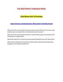CIS 3615 Week 5 Individual Work