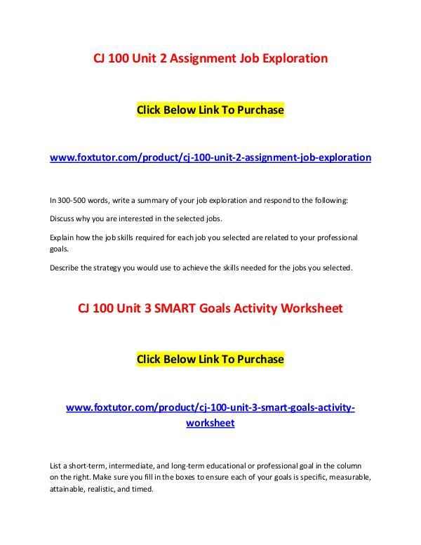 CJ 100 All Assignments CJ 100 All Assignments