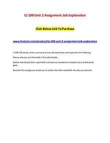 CJ 100 Unit 2 Assignment Job Exploration